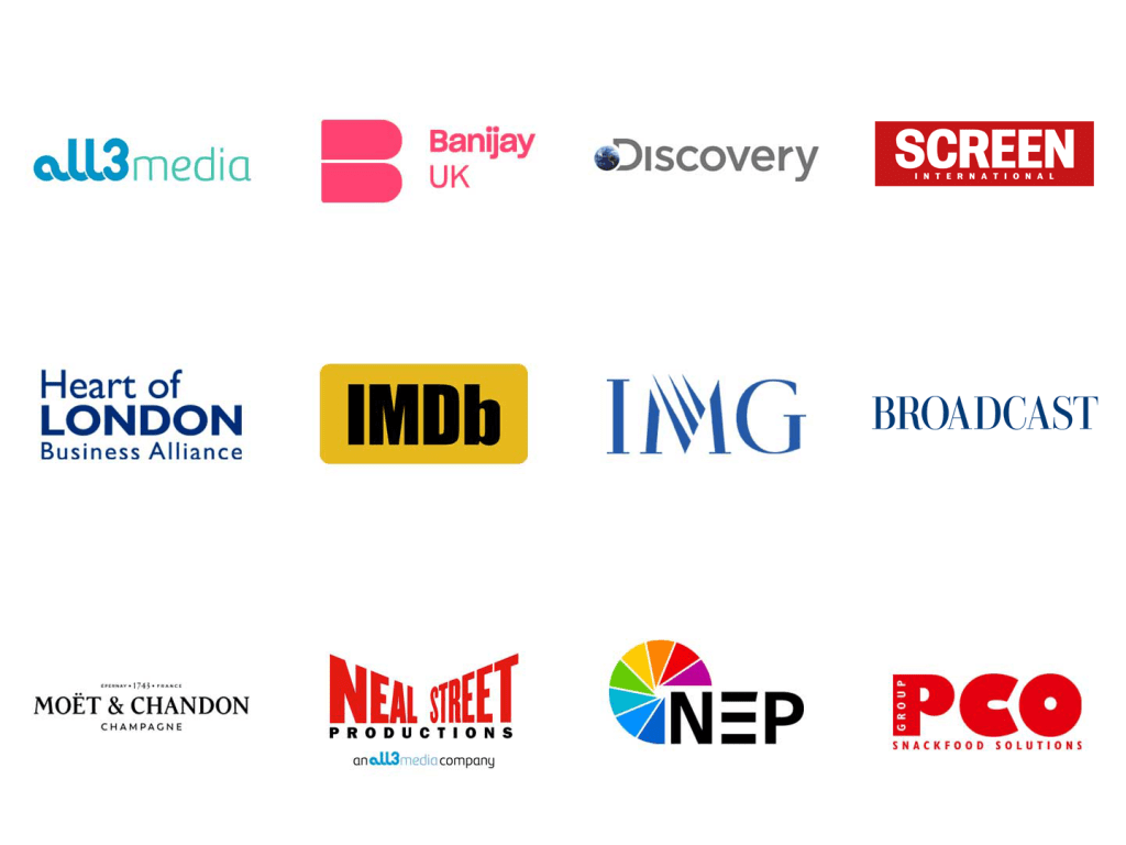 Logos from companies that have helped the film and tv charity inc. Screen international, Broadcast, IMDb, PCO and more